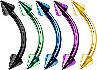 5 Piezas de Acero quirúrgico Curvado Piercing de Barra de Ombligo de 3 mm de Calibre 16 de 3 mm para Piercing de Cejas de Serpiente