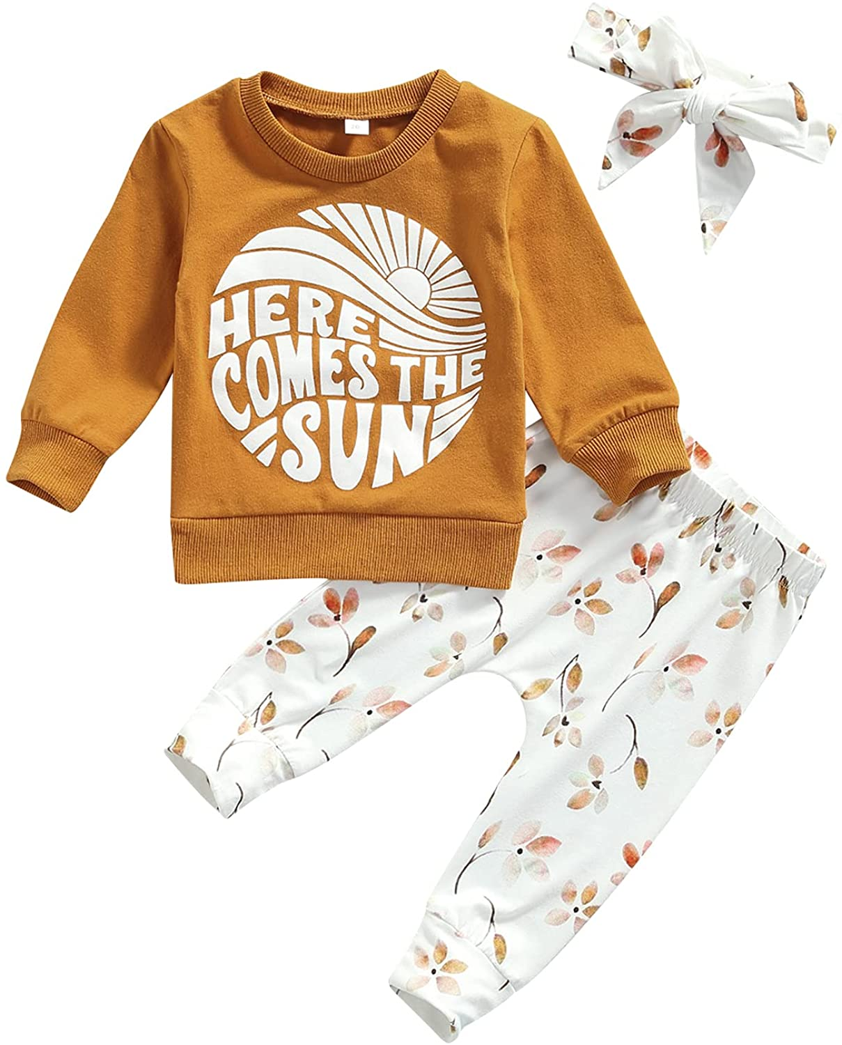 Baby Girl Clothes Set Fall 3 6 9 12 18 24 Months Long Sleeve Sweatshirt & Floral Print Pants & Headband Outfits