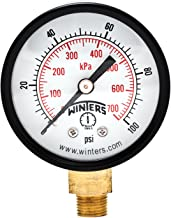 Winters PEM Series Steel Dual Scale Economical All Purpose Pressure Gauge with Brass Internals, 0-100 psi/kpa, 2