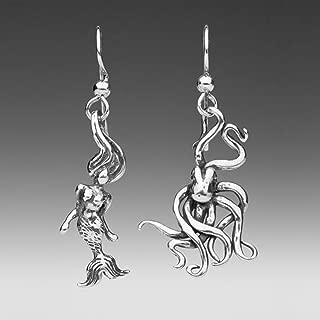 Mermaid and Octopus Earrings Silver Mermaid Earrings Octopus Earrings Mermaid Jewelry Octopus Jewelry Ocean Jewelry Siren Jewelry