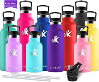 KollyKolla Vacuum Insulated Water Bottle Metal Water Bottles with Straw & Filter Hot & Cold Drinks Bottle Stainless Steel Thermoflask Leakproof Kids Sports Bottle 350ml/500ml/600ml/750ml