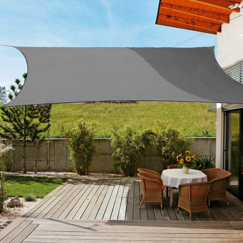 OldPAPA Vela de Sombra Rectángulo Impermeable Protector Solar Bloque 95% UV Jardin Terraza Piscina Sombra Pabellón con Cuerda Libre Gris 2x3m: Amazon.es: Jardín