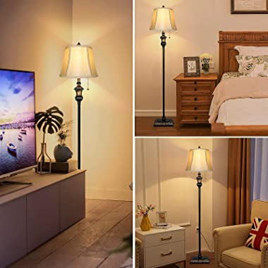 TOBUSA Traditional Floor Lamp, Classic Standing Lamp with Bronze Fabric Shade, Vintage Elegant Tall Pole Lamp for Living Room