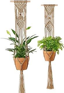 Mkono Plant Hangers Indoor Wall Hanging Planter Basket Macrame Jute Rope Boho Hippie Home Decor, Set of 2