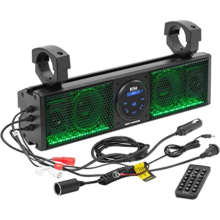 BOSS Audio Systems BRT18RGB ATV UTV Sound Bar System - 18 Inches Wide, IPX5 Rated Weatherproof, Bluetooth Audio, Amplified, 4 inch Speakers, 1 Inch Tweeters, USB Port, RGB Multicolor Illumination