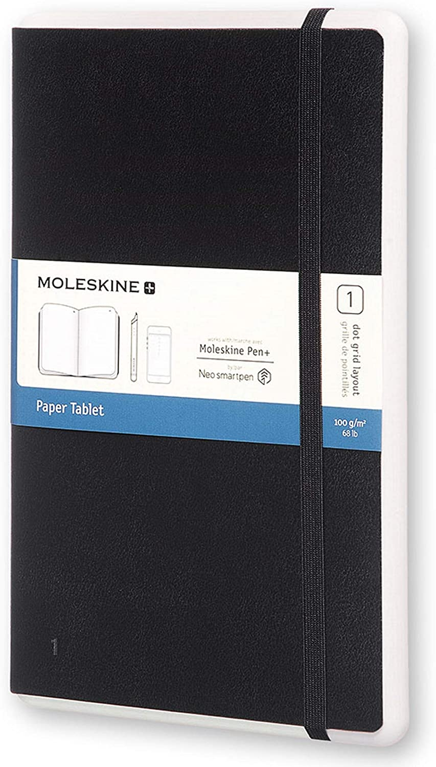 Moleskine Paper Tablet Hard Cover Smart Notebook Dotted 2 Large 5 X 8 25 Black Compatible W Moleskine Pen Ellipse Sold Separately App Digitize Organize Notes Bullet Journal Office Products