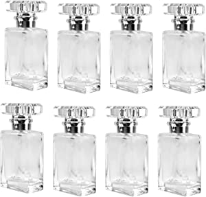 Foraineam 8 Pack 30ml / 1 oz. Clear Refillable Perfume Bottle, Portable Square Empty Glass Perfume Atomizer Bottle with Spray Applicator