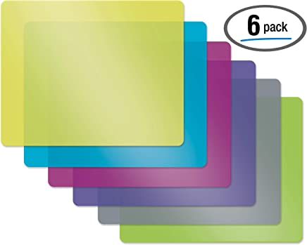 Flexible Plastic Cutting Board Mats, Set of 6, Textured, 6 Vivid Colors by Better Kitchen Products