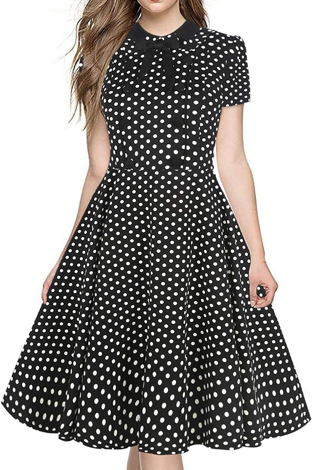HELYO Women's Rockabilly Bow Neck Plaid Short Sleeve Vintage Work Swing Cocktail Party Dress 212