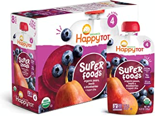 Happy Tot Organic Super Foods Pouch Stage 4 Pears Blueberries & Beets + Super Chia, 4.22 Ounce Pouch (Pack of 16) (Packagi...
