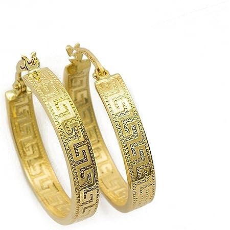 Orecchini Chiave Greca Piccoli Orecchini a Cerchio in Oro 14 Carati / 585 Oro Giallo (3 x 14 Ø mm) - PR141