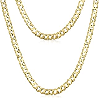 Amberta Dark Rhodium or Gold Plated on 925 Sterling Silver Necklace for Men - Flat Curb Cuban Chain - 5 mm Thick - Various...