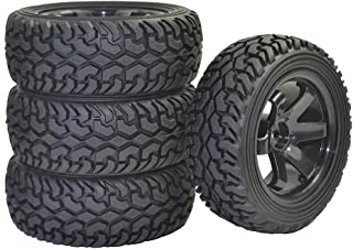 LAFEINA 4PCS RC Rally Car Grain Rubber Tires and Wheel Rims for 1:10 RC On Road Car Traxxas Tamiya HSP HPI Kyosho