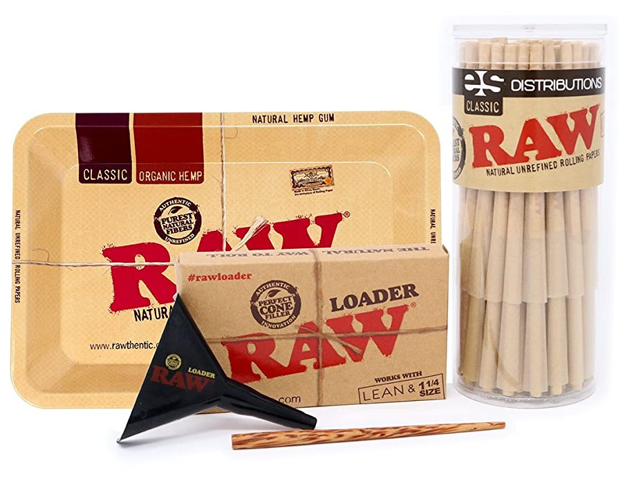 RAW Classic Lean Size Pre-Rolled Cones with Filter Tips - Bundle (50 Pack with Mini Rolling Tray and Lean Loader)