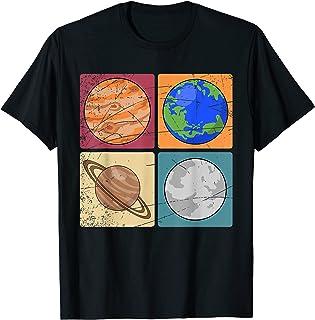 Planètes Espace Univers Retro Pop Art Système Solaire T-Shirt
