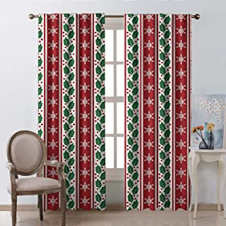 Snowflake Fabric Window Curtain Christmas Decoration Holly Berry Leaves and Snowflakes on Vertical Banners and New Year Ruby Fern Green W63 xL45