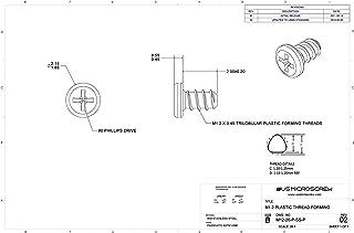 Undercut Flat Head Black Zinc M1.4 x 1.9mm Plastic Thread Forming Screw 100 Pcs - M14-19-P-BZ-UFH Phillips Drive