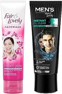 Fair & Lovely Fairness Face Wash, 100g & Fair & Lovely Instant Oil Clear Magnet Action Face wash, 100 g