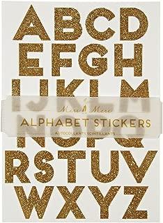 Meri Meri Gold Glitter Alphabet Sticker Sheets - Elegant Font - 25mm Letter Size