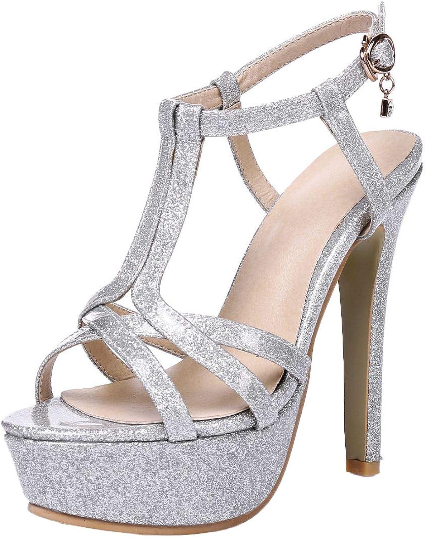 Vitalo Womens Glitter Stiletto Platform Heeled Sandals T Strap Party Prom shoes