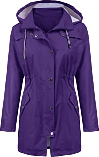 LOMON Raincoat Women Waterproof Long Hooded Trench Coats Lined Windbreaker Travel Jacket S-XXL