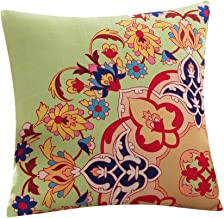 45cm Classic Flower Printed Bamboo Linen Cushion Cover Home Textiles Supplies Lumbar Pillow Decorative (Green National)