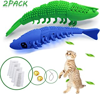 Cat Toothbrush Natural Rubber Interactive Cat Toys Refillable Catnip Shrimp Shape Toothbrush Toy Cleaning Catnip Toys Refillable Catnip Kitten Teaser Toy with Bell, Two cat toothbrushes