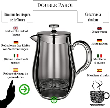 Cafetiere French Press Coffee Maker by VeoHome -Stainless steel Unbreakable and keeps coffee hotter for a long time thanks to