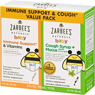Zarbee's Naturals Baby Immune Support* & Vitamins & Baby Cough Syrup + Mucus, 2 Ounce Bottles (Value Twin Pack)