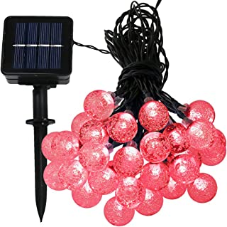 Sunnydaze 20 Foot 30-Count LED Solar Powered String Lights Outdoor Globe, Red