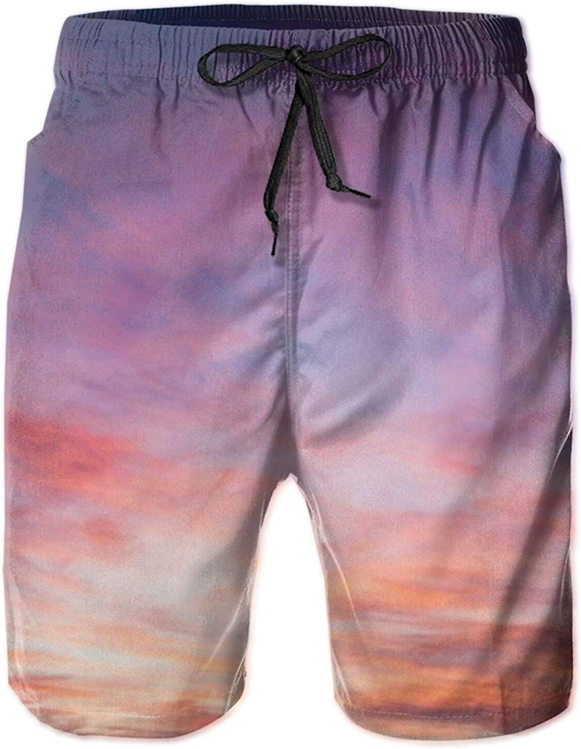 Super popular Max 40% OFF specialty store Men's 100% Polyester Sea Sunset Casual Trunks Shorts Swim Beach