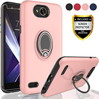 AYMECL LG X Power 2 / X Charge / K10 Power/Fiesta 2 LTE Case with HD Screen Protector,Rotating Ring Holder Dual Layer Shock Bumper Cover for LG LV7-GH Rose Gold