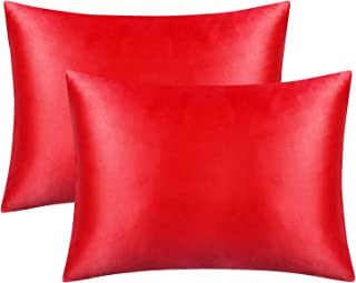 FLXXIE Standard Silky Satin Pillowcases, Soft and Luxury, Pack of 2, Hidden Zipper, Red