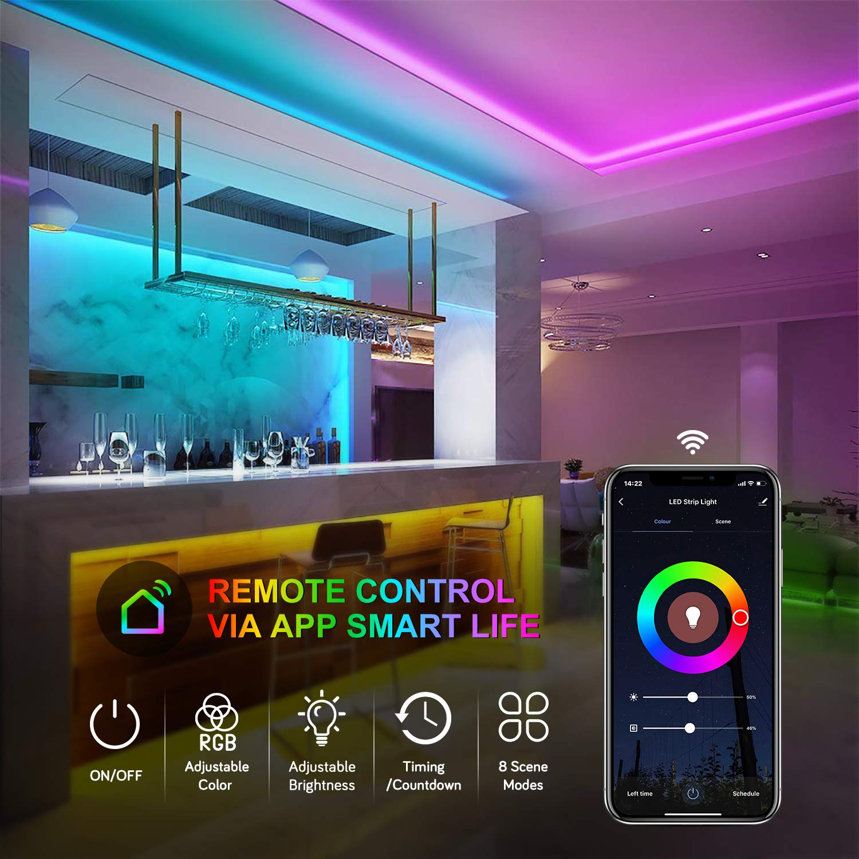 Wifi Tira LED RGB, Maxcio Tira LED Regulable Control de Voz y APP, Alexa/Google Home Tira LED Sincroniza con la Música, 16 colores 150 Leds con Control Remoto, Decorativas para Fiesta, TV(5M):