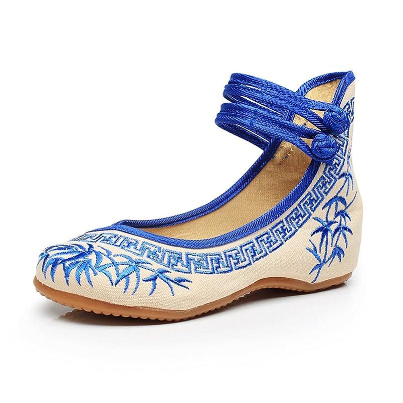 バッグ土器説教[Fanwer] 竹刺繍女性の靴中国のカジュアルなフラットソールメアリーJanes靴