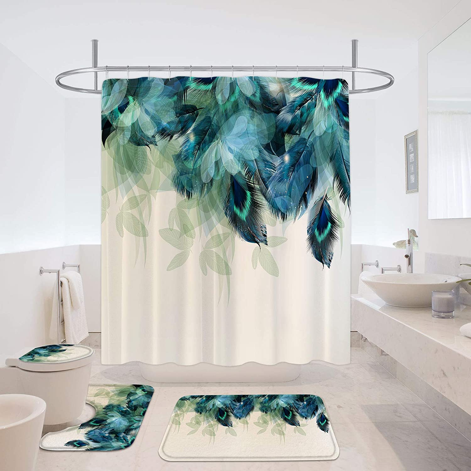 MitoVilla Minneapolis Mall Peacock Green Max 66% OFF Feather Shower Curtain with Set Bath Mat