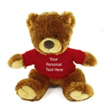 Plushland Honey Noah Teddy Bear 12 Inch, Stuffed Animal Personalized Gift - Custom Text on Shirt - Great Present for Mothe...