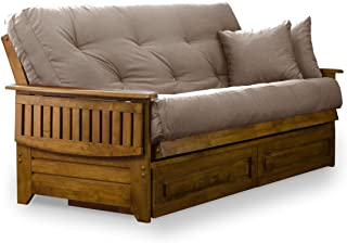Brentwood Tray Arm Futon Frame, Drawers, and Microfiber Khaki Mattress Set - Queen, Heritage Finish