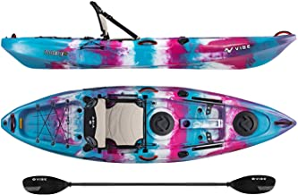 Vibe Kayaks Yellowfin 100 10 Foot Angler Recreational Sit On Top Light Weight Fishing Kayak (Jam Berry) with Paddle and Adjustable Hero Comfort Seat - Journey Paddle