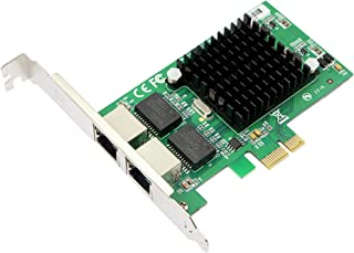 CERRXIAN Dual Port Gigabit Ethernet PCI Express PCI-E 1x Slot Network Adapter Card 10/100 / 1000 Mbps with Low Profile Bra...