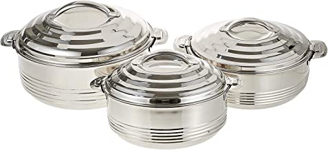 Almarjan Stainless Steel Hotpot - 3 Pieces,Silver