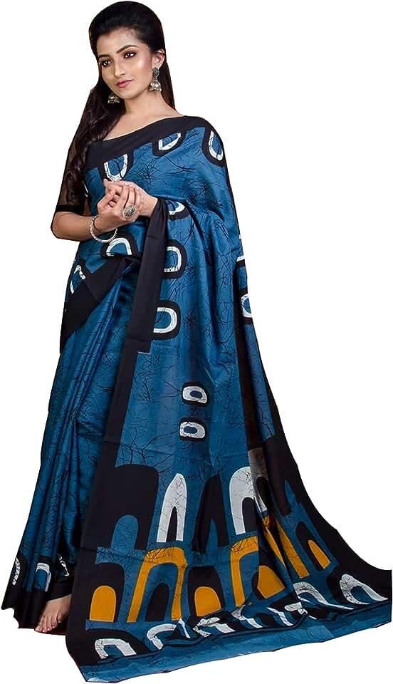 Indian Sanganeri Block Print Women's Plain Weave Cotton Saree With Blouse Piece (JFS-COT-BTBASC_Blue) Saree