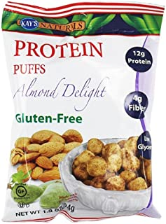 Kay's Naturals Protein Puffs, Almond Delight, Gluten-Free, Low Fat, Diabetes Friendly All Natural Flavorings, 1.2 Ounce (Pack of 6)