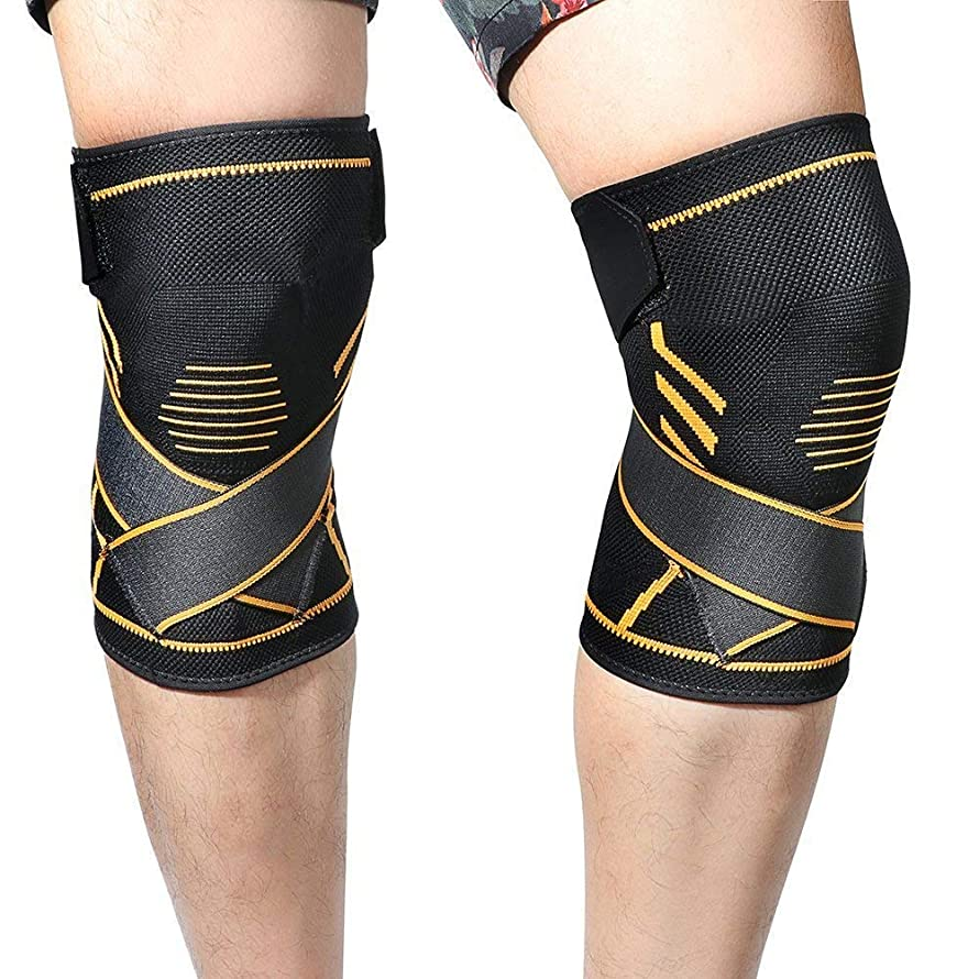 Athletics Knee Compression Sleeve Support (1pair) - Inofia Men & Women Sleeve with Crossover Pain Relief Strap 7mm Sleeve of Comfort Wear Anywhere for Sports,(XL(19-21.5