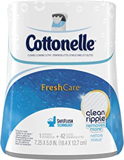 Cottonelle Fresh Care Moist Wipes Upright Dispenser + Flushable Wipes-42 ct