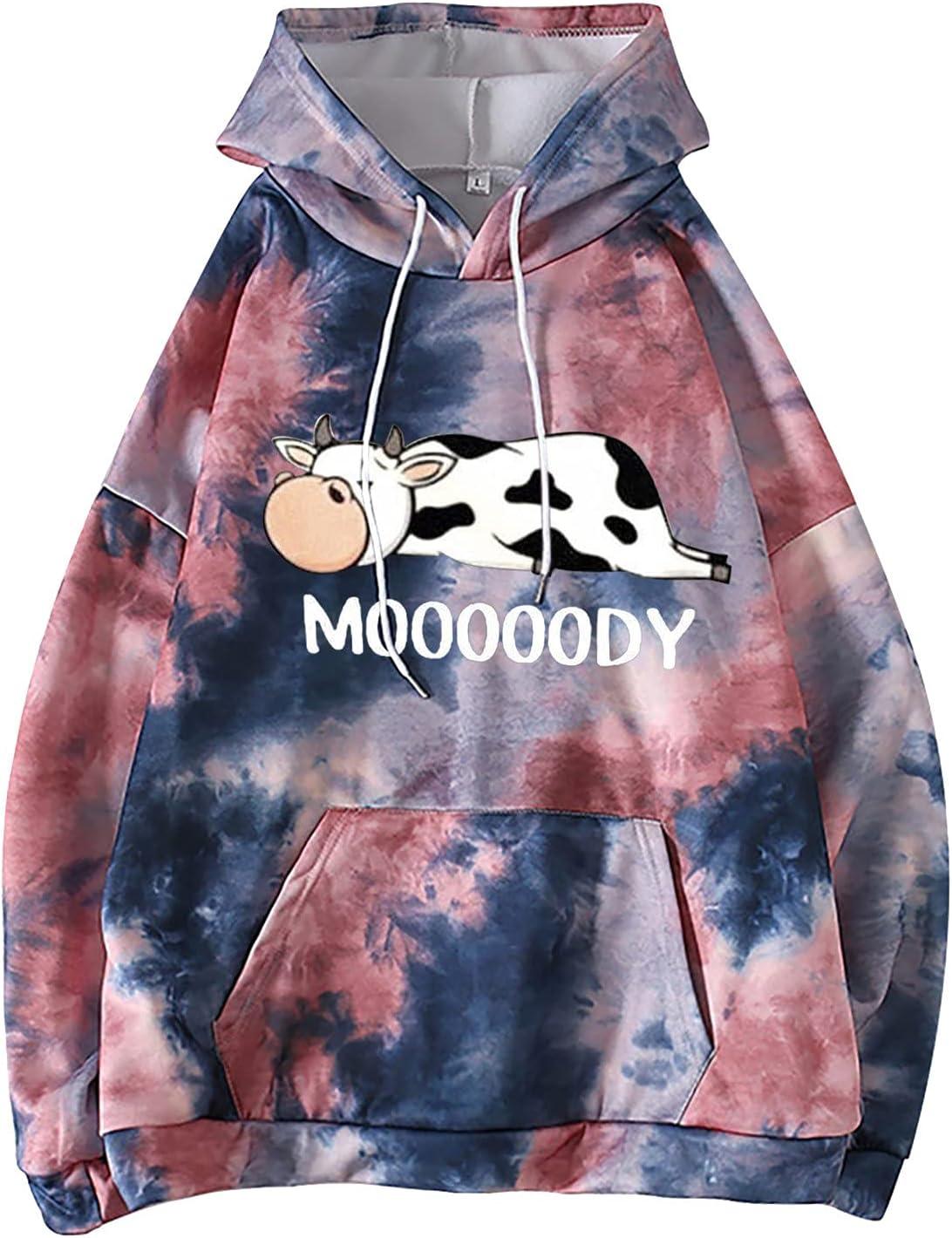 JPVDPA Women Casual Long Sleeve Hooded Sweatshirt Ladies Loose Fitting Pullover Cute Hoodie Printed for Teens