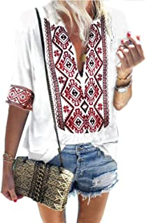 Women's Summer V Neck Boho Print Embroidered Shirts Short Sleeve Casual Tops Blouse