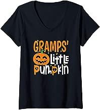 Womens Gramp's Little Pumpkin Halloween Cute Kids Pumpkin Gifts V-Neck T-Shirt