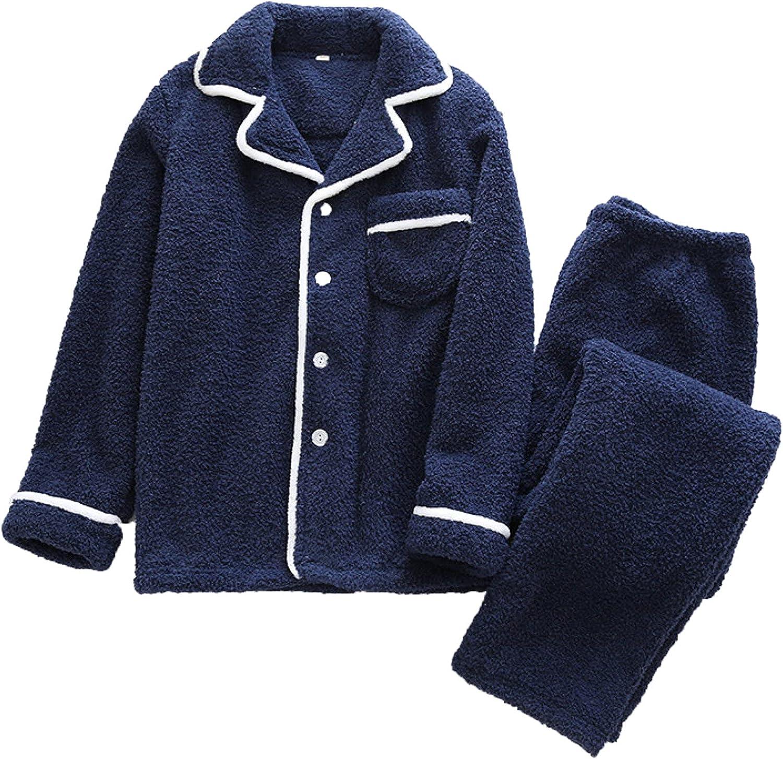Men's Plush Warm Pajama Set with Pockets Cardigan Long Sleeves Loose Casual Plus Size