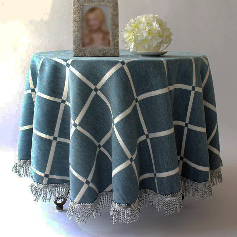 Joo Europische High-End Tischdecke Runde Tischdecke Mahlzeit Baumwolle Leinen Tischdecke amerikanischen mediterranen rustikalen Stil Tuch (Farbe   Blau Grid, gre   D130 cm)